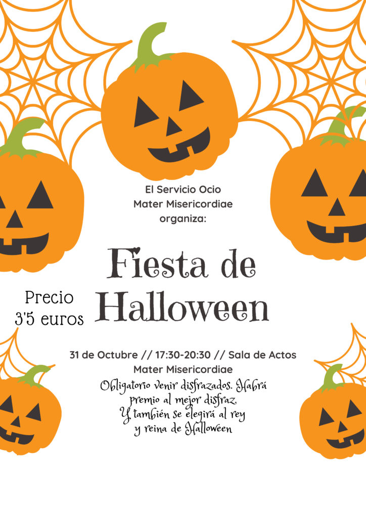 Cartel de la fiesta Halloween en el centro Mater
